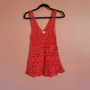 UO Staring At Stars Red Crochet Knit Tank Top